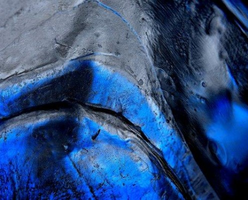 Priscilla Dale Jones - Abstracts - Free Forms - Pewter and Blue Together - 2014